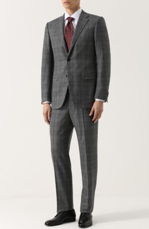 Шерстяной костюм в клетку с пиджаком на двух пуговицах Giorgio Armani. Цвет: серый