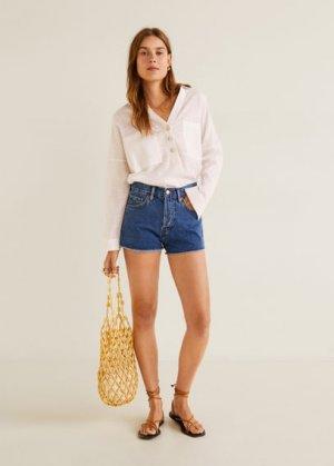 Джинсовые шорты с бахромой - Iconic Mango. Цвет: темно-синий