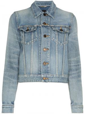 Укороченная джинсовая куртка на пуговицах Saint Laurent. Цвет: синий