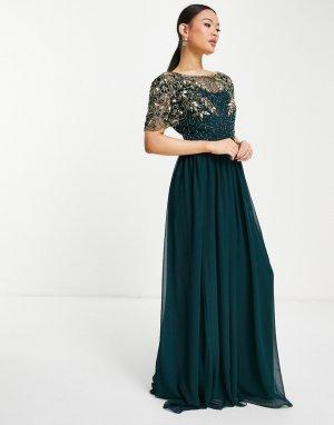 Темно-зеленое платье макси с пышной юбкой и декоративной отделкой Ariann-Зеленый цвет Virgos Lounge