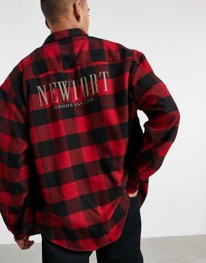 Oversized-рубашка в клетку стиле 90-х с принтом города на спине -Красный ASOS DESIGN