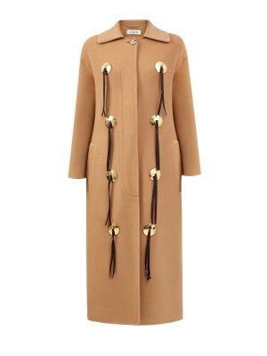 Шерстяное пальто с отделкой из телячьей кожи LANVIN. Цвет: бежевый