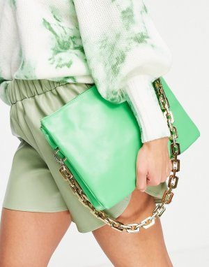 Зеленая сумка-клатч с ручкой-цепочкой Ego-Зеленый цвет EGO