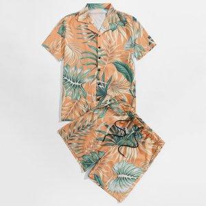 Мужской с тропическим принтом Рубашка & на кулиске Шорты SHEIN. Цвет: оранжевый