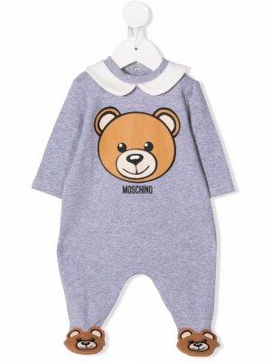 Bear-print romper Moschino Kids. Цвет: серый