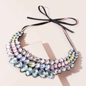 Ожерелье с драгоценными камнями SHEIN. Цвет: многоцветный