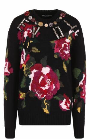 Шерстяной пуловер с круглым вырезом и принтом Dolce & Gabbana. Цвет: черный