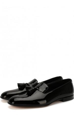 Лаковые слиперы с кисточками Tom Ford. Цвет: чёрный