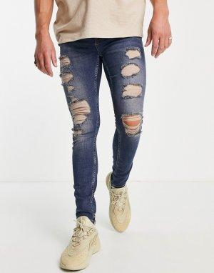 Выбеленные супероблегающие джинсы со рваной отделкой и заплатками -Голубой Topman
