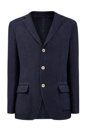 Льняной блейзер с объемными швами и накладными карманами ELEVENTY. Цвет: синий