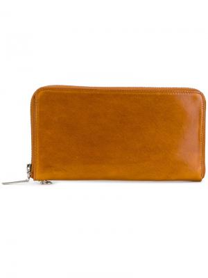 Бумажник на молнии Yohji Yamamoto. Цвет: коричневый