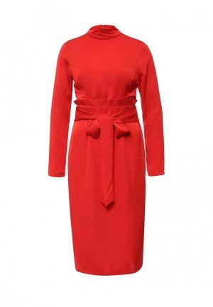 Платье Lost Ink FAREN SATIN BACKED FRILL WAIST DRESS. Цвет: красный