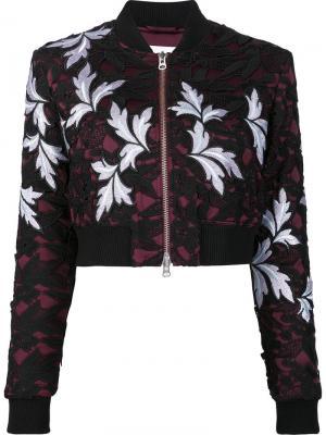 Куртка-бомбер с цветочным принтом Self-Portrait. Цвет: чёрный