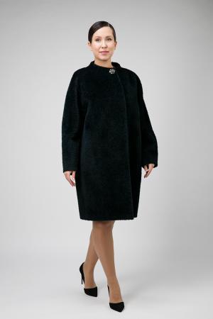 Пальто кокон из альпака на большой размер Elisabetta. Цвет: изумрудный