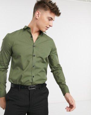 Поплиновая рубашка хаки с длинными рукавами -Зеленый цвет New Look