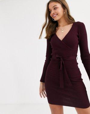 Бордовое вязаное платье с завязкой на талии -Красный Lipsy