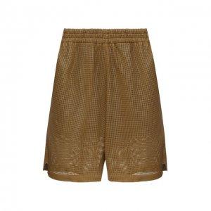 Кожаные шорты Bottega Veneta. Цвет: хаки