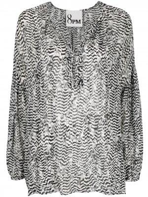 Блузка с V-образным вырезом и анималистичным принтом 8pm. Цвет: черный