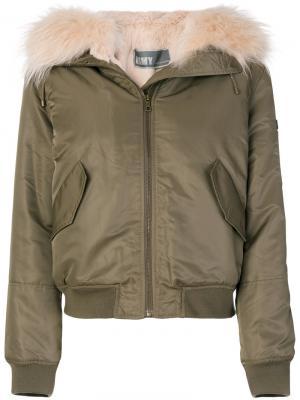 Куртка-бомбер с отделкой Army Yves Salomon. Цвет: зелёный