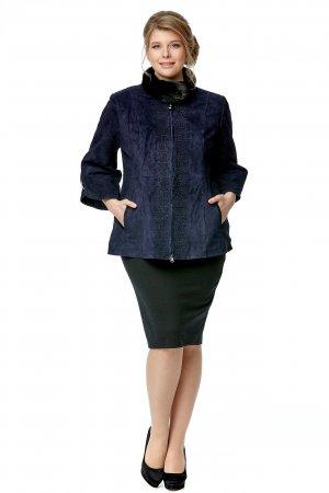 Женская кожаная куртка из натуральной замши с воротником, отделка норка МОСМЕХА