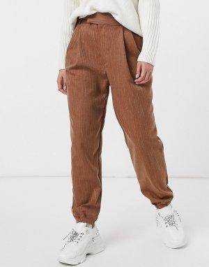 Темно-бежевые эффектные брюки из саржи -Бежевый BB Dakota