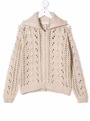 Knitted zipped cardigan Brunello Cucinelli Kids. Цвет: нейтральные цвета