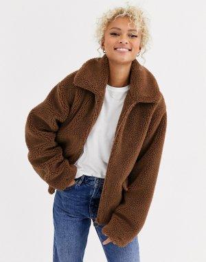 Куртка из искусственного меха на молнии -Коричневый Blend She