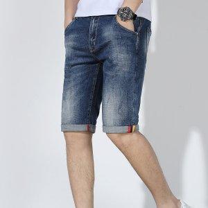 Мужские джинсовые шорты SHEIN. Цвет: синий