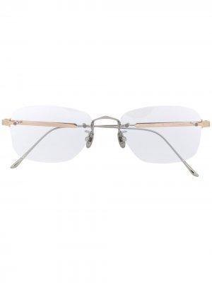 Овальные очки без оправы Cartier Eyewear. Цвет: белый