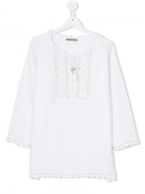 Блузка с ажурным вязаным нагрудником Ermanno Scervino Junior. Цвет: белый