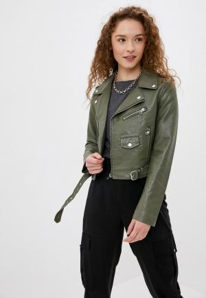 Куртка кожаная Softy. Цвет: хаки