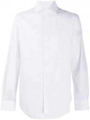 Рубашка с длинными рукавами и косым воротником Corneliani. Цвет: белый
