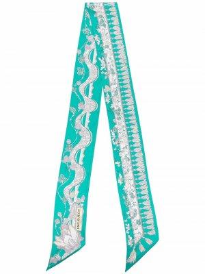 Rugiada-print silk scarf Emilio Pucci. Цвет: зеленый
