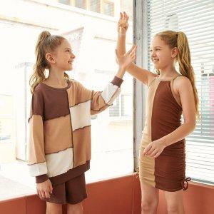 1шт Контрастный пуловер для девочек SHEIN. Цвет: многоцветный