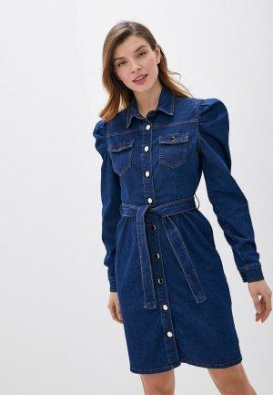 Платье джинсовое Rinascimento. Цвет: синий