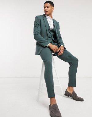 Зеленый супероблегающий пиджак -Зеленый цвет ASOS DESIGN