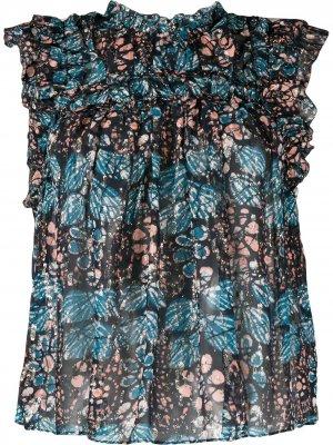 Блузка без рукавов с цветочным принтом Ulla Johnson. Цвет: синий