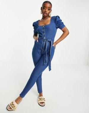 Голубой выбеленный джинсовый комбинезон с поясом Parisian