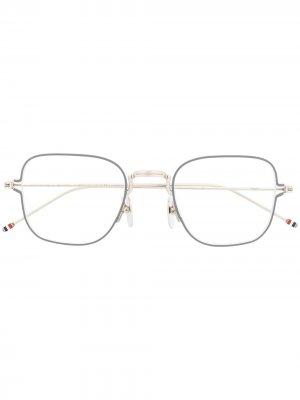 Очки в квадратной оправе Thom Browne Eyewear. Цвет: серебристый