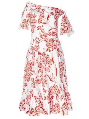 Хлопковое платье-миди с принтом CAROLINA HERRERA. Цвет: белый