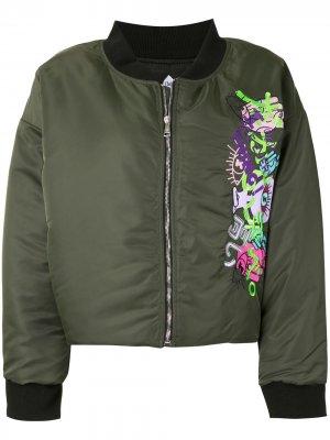 Укороченная куртка-бомбер с вышивкой Natasha Zinko. Цвет: зеленый