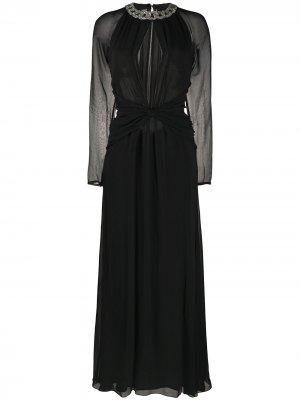 Платье с кристаллами и V-образным вырезом Amen. Цвет: черный