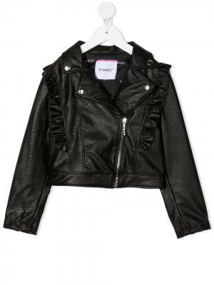 Куртка с оборками Pinko Kids. Цвет: черный