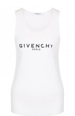 Однотонная хлопковая майка с логотипом бренда Givenchy. Цвет: белый