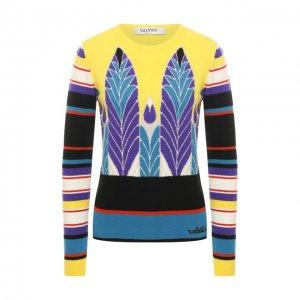 Пуловер из смеси шерсти и кашемира Valentino. Цвет: жёлтый