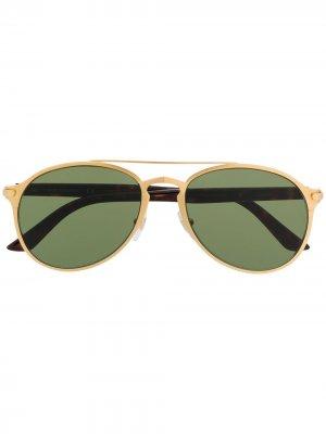 Солнцезащитные очки-авиаторы с затемненными линзами Cartier. Цвет: золотистый