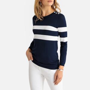 Пуловер в полоску с круглым вырезом из трикотажа ANNE WEYBURN. Цвет: темно-синий в белую полоску