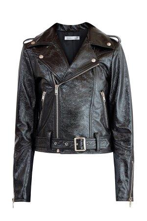 Кожаная куртка в байкерском стиле из лаковой кожи с эффектом кракле ALEXANDER TEREKHOV. Цвет: черный
