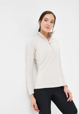 Лонгслив спортивный Nike Pro Warm Womens Long-Sleeve 1/2-Zip Top. Цвет: бежевый