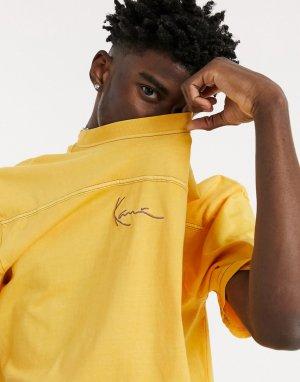 Желтая футболка с эффектом потертости и небольшим логотипом-подписью -Желтый Karl Kani